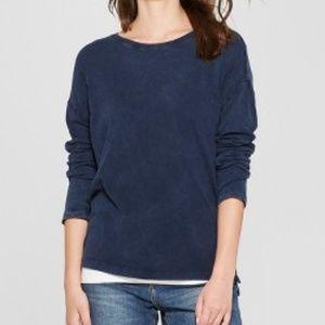 Women's Drop Shoulder Long Sleeve T-Shirt Navy - M